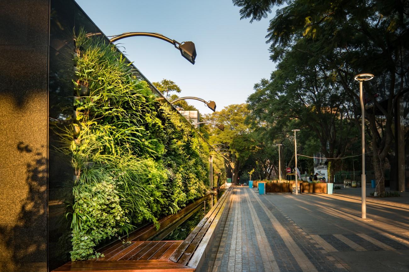 Gevelontwerp met verticale groene plantenwand