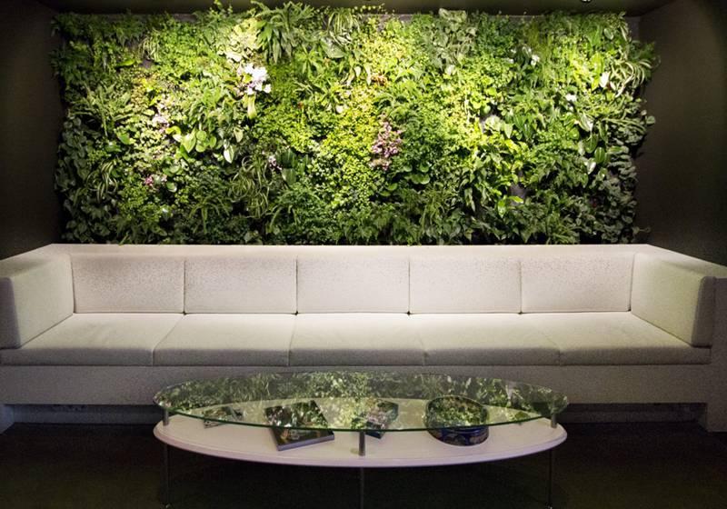 Levende plantenwand met verlichting