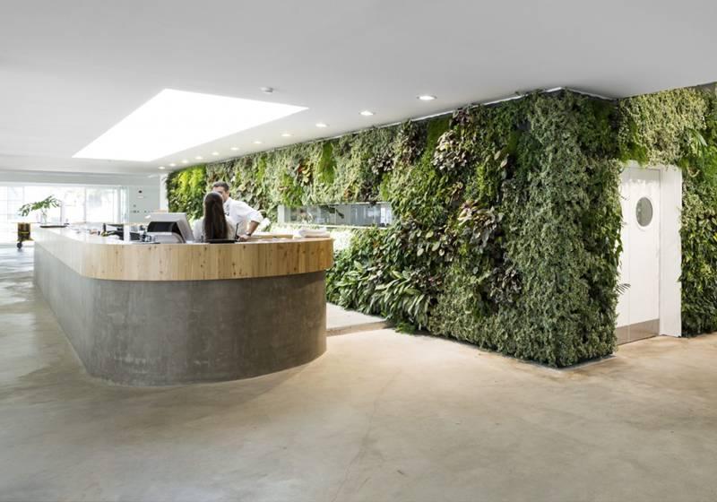 Ruim 200m2 plantenwand rond de keuken van het restaurant